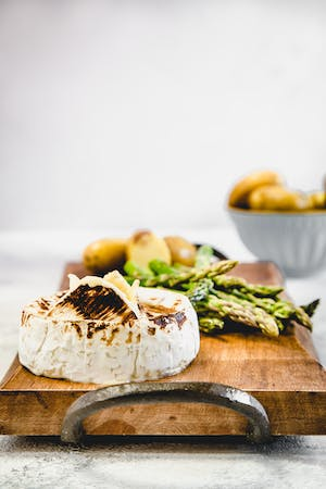 Baked Camembert with Asparagus & Potatoes