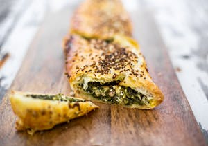 Greek style spinach, feta and halloumi pie
