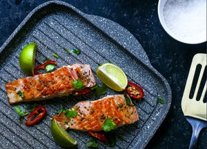 Grilled Salmon with Caramelised Lemon