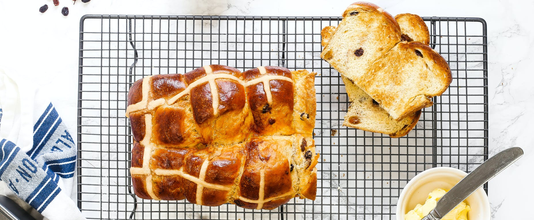 Green Tea & Lemon Hot Cross Bun Loaf