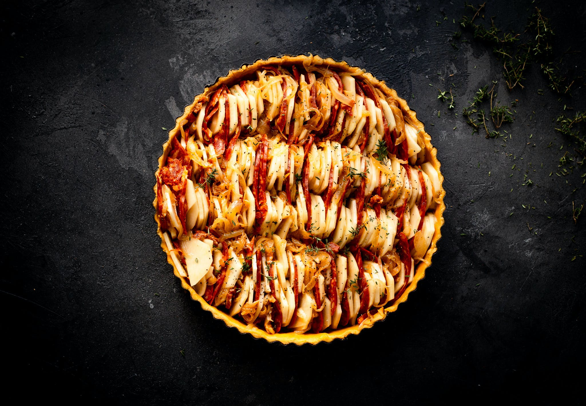 Chorizo and Potato Tart