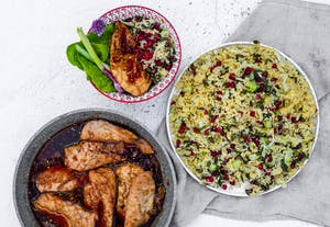 Sticky Chicken with Fennel and Pomegranate Bulgar Wheat Salad