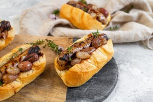 Hot Dogs with Pickled Grapes and Onion