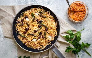 Nduja Style Pasta with Asparagus and Black Olives