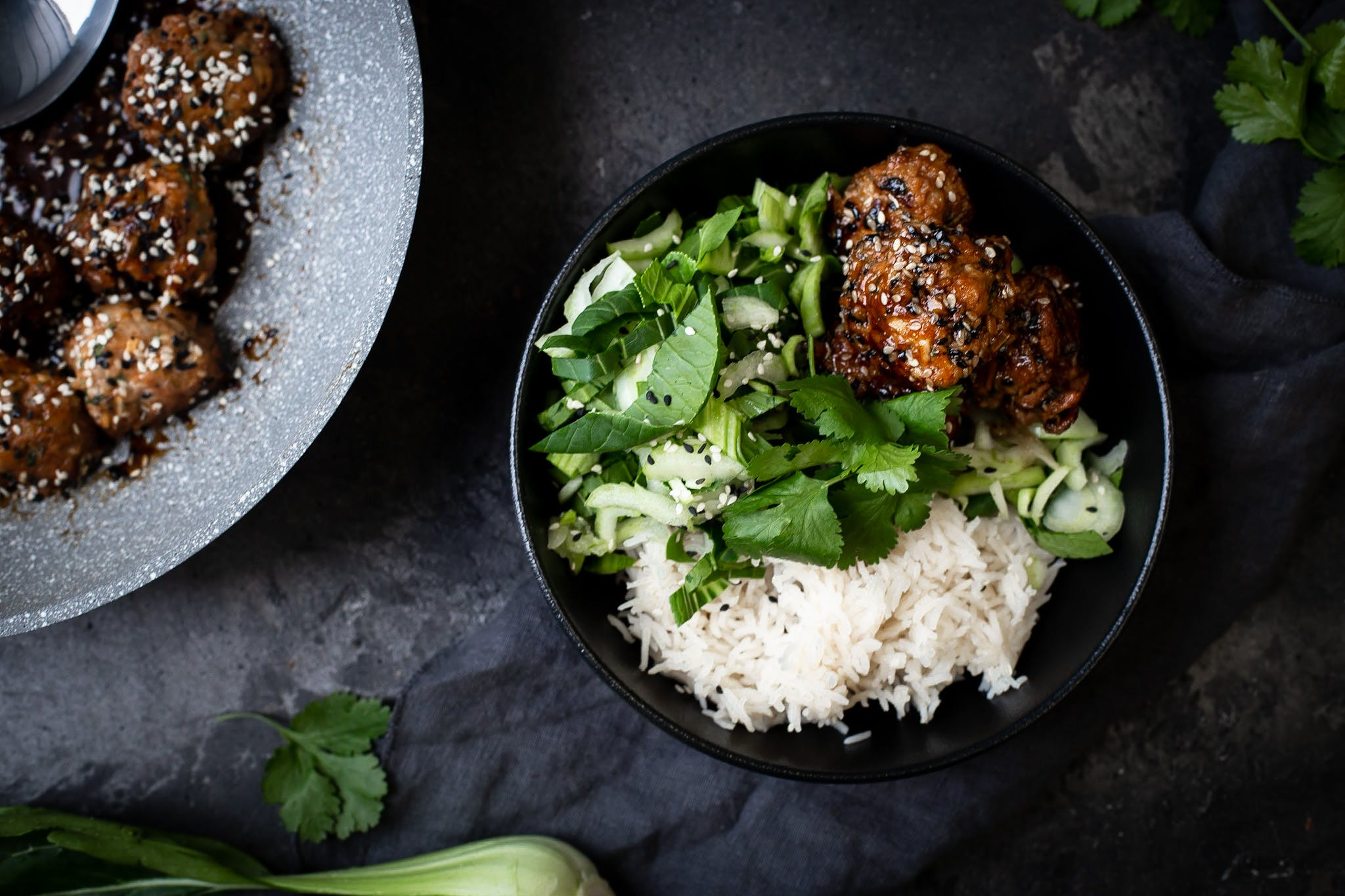 Korean Chilli and Sesame Meatballs with Steamed Rice and Bock Choy