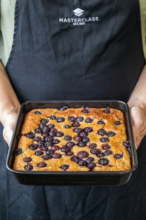 Banana and Blueberry Cake with a Honey and Lemon Drizzle