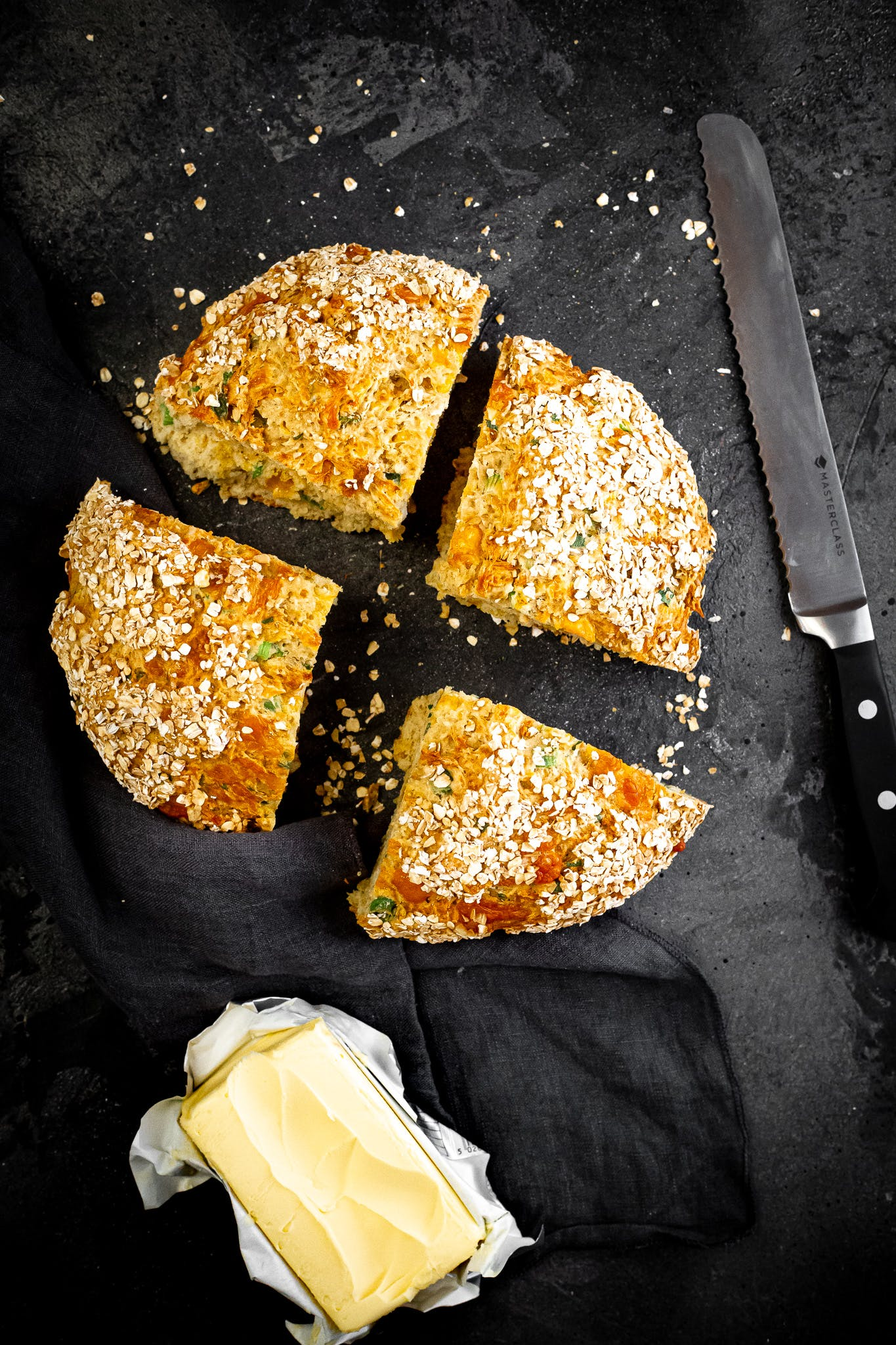 Irish Beer and Soda bread with Spring Onion and Cheese