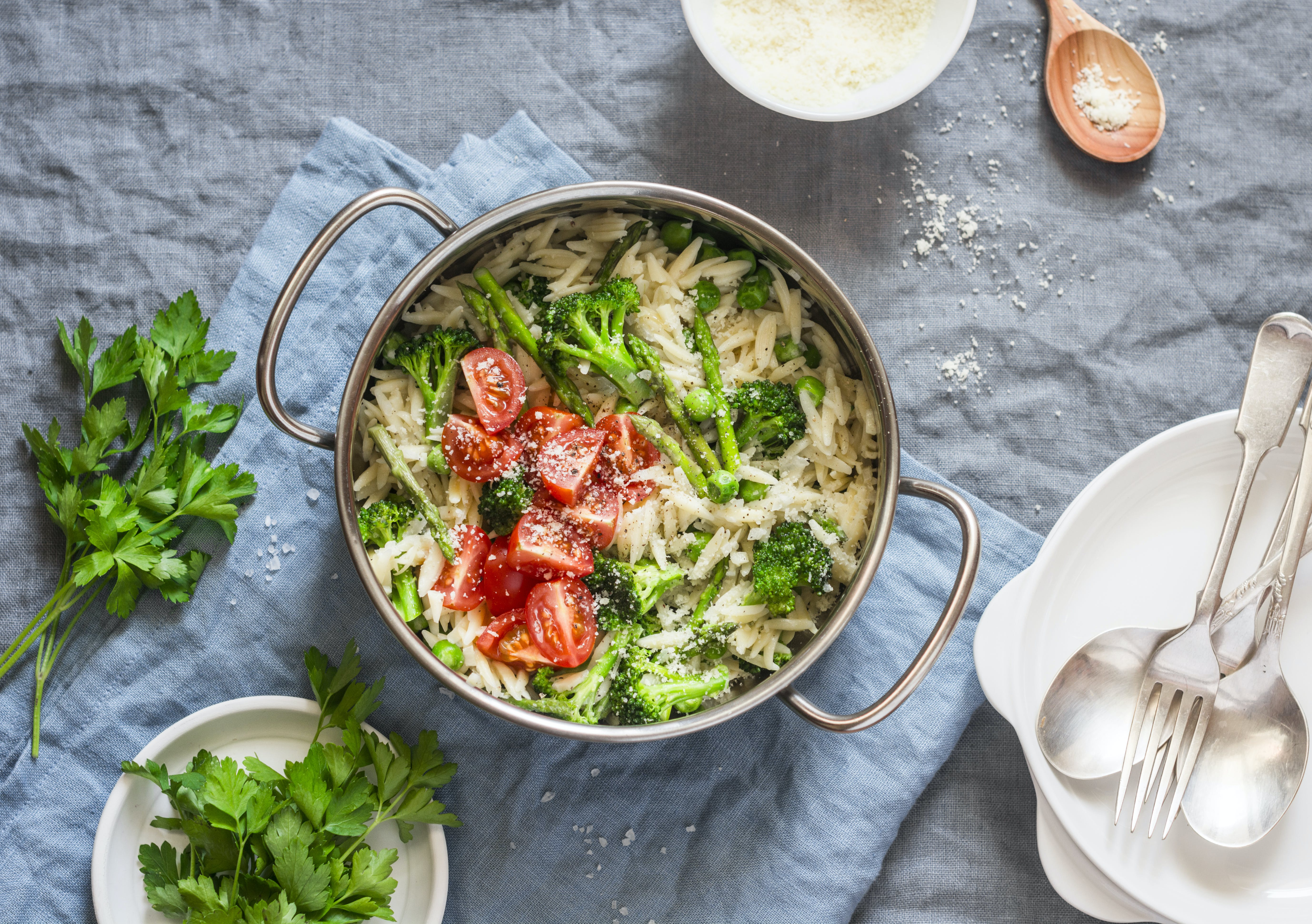 One Pan Orzo Pasta with Asparagus, Broccoli, Peas and Cream Sauce