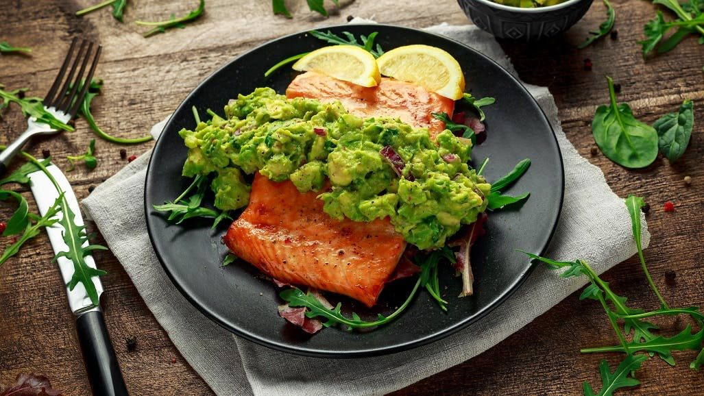 15 Minute Salmon with Avocado Cream
