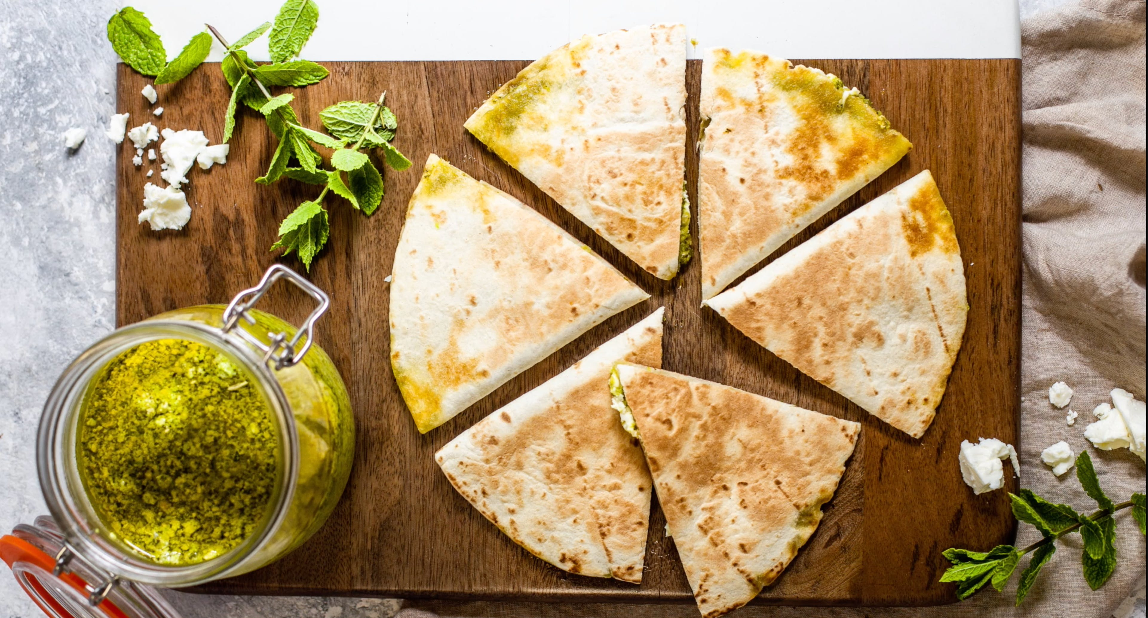 Pea and Mint Pesto Quesadilla