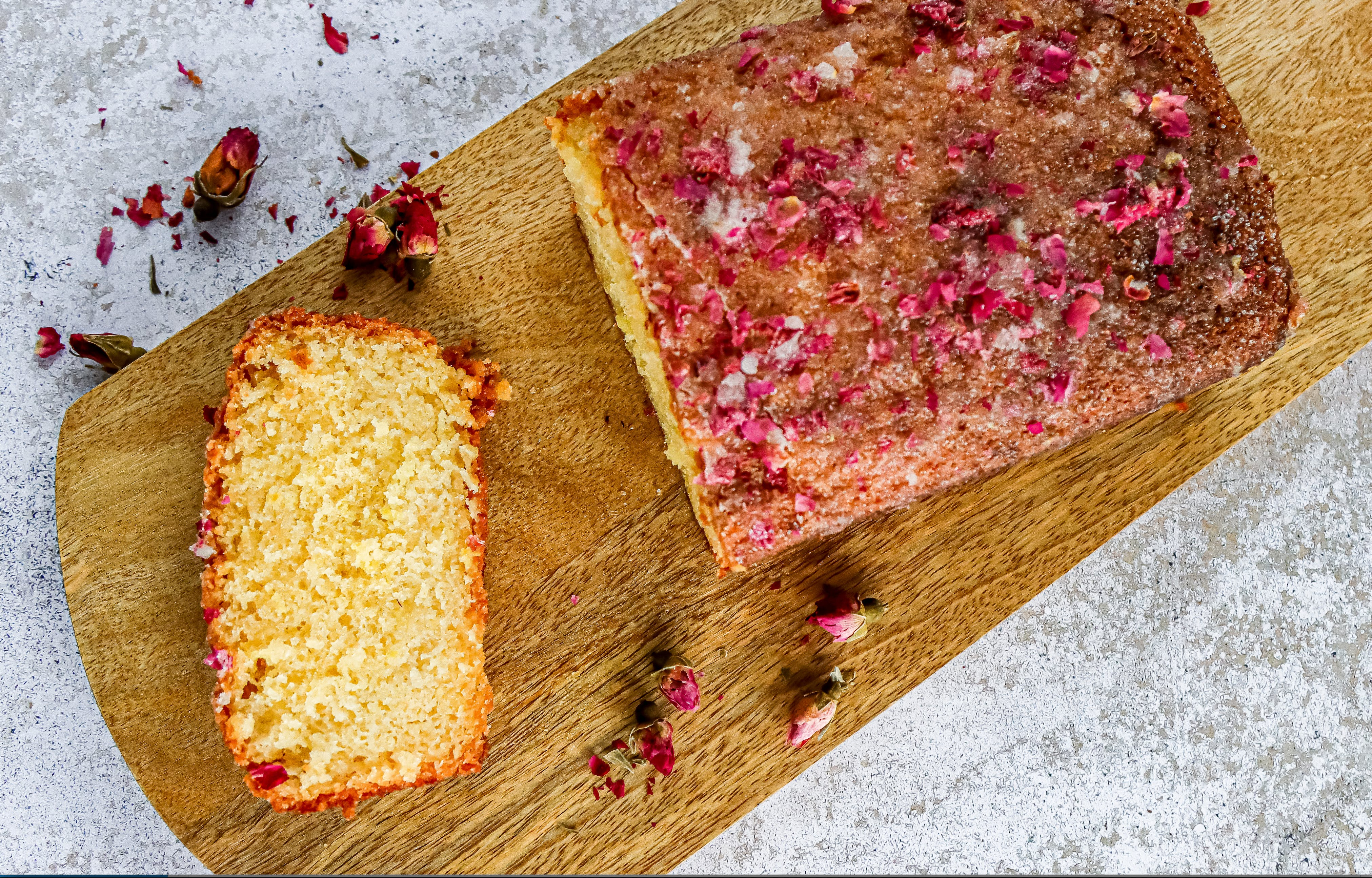 Lemon and rose drizzle cake