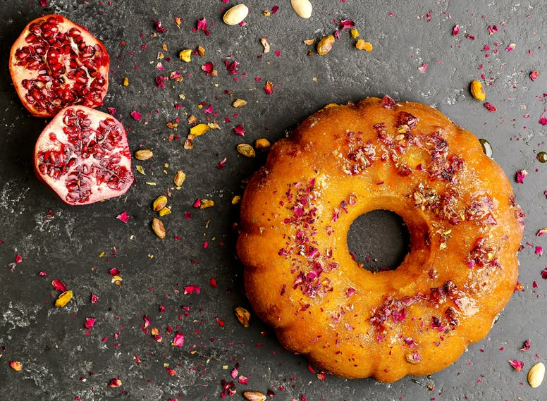 Rose, Orange and Pomegranate Cake