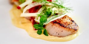 Scallops with Fennel, Apple and Crispy Ham
