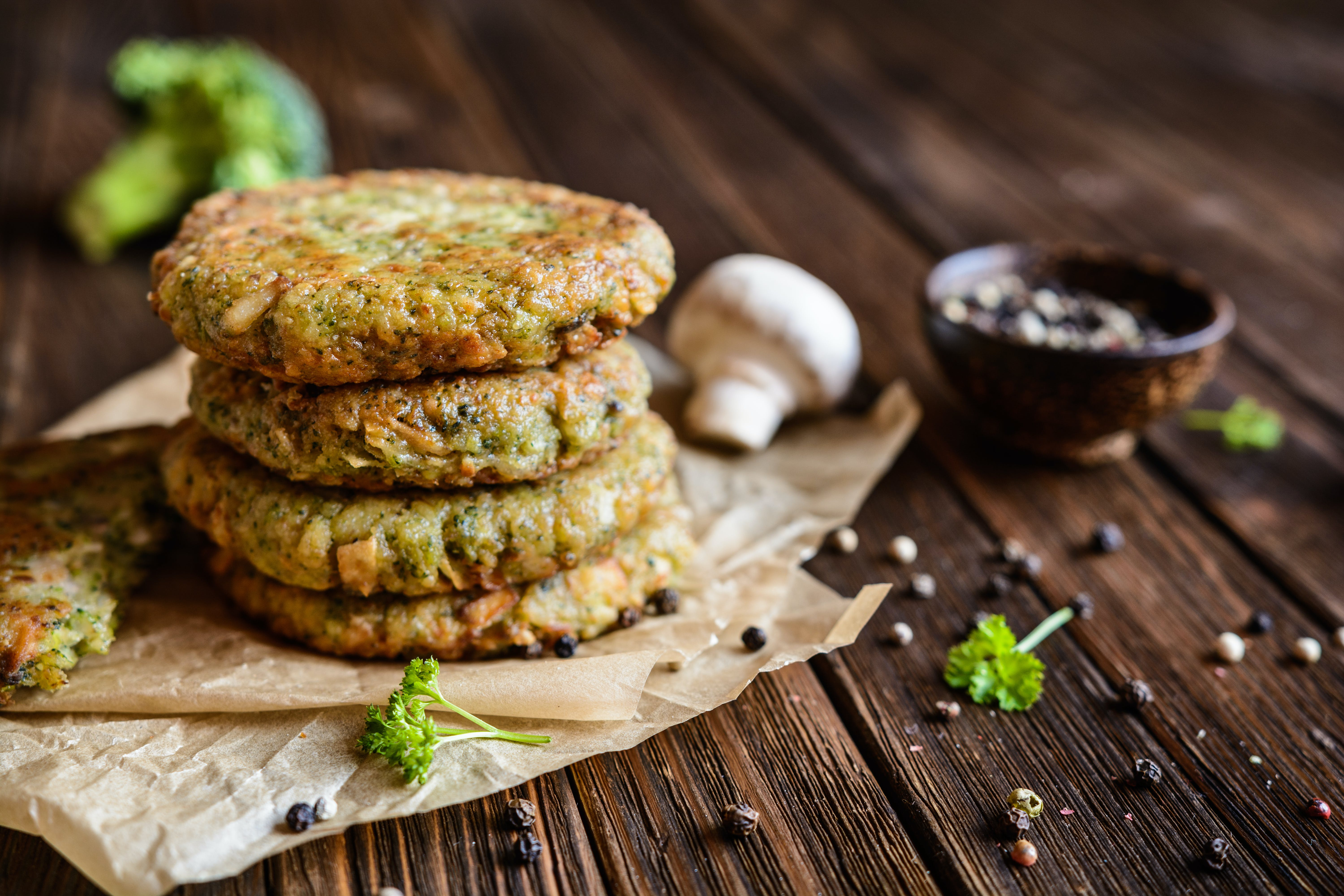 Broccoli and Mushroom Burgers