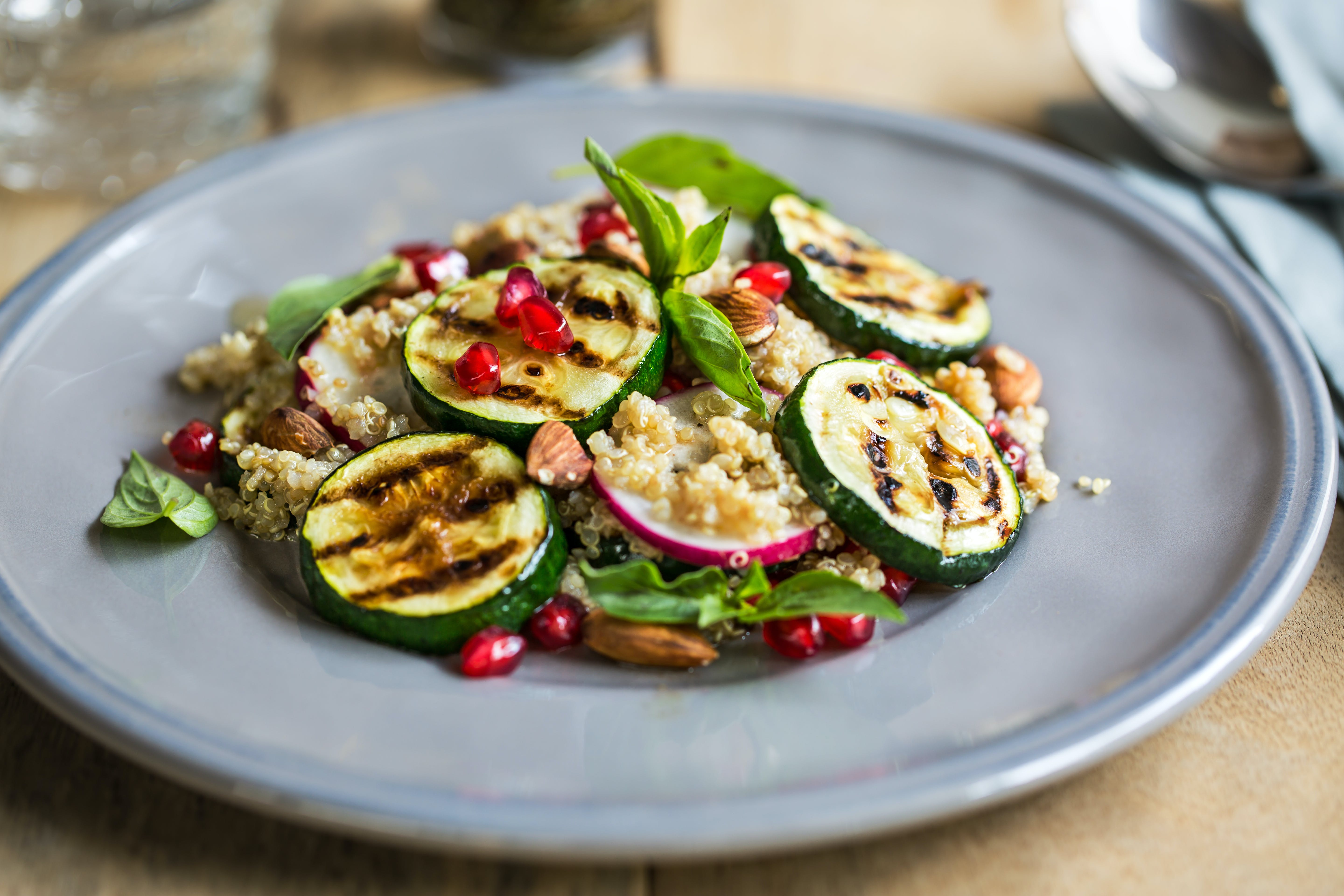 Quinoa with Grilled Courgette, Almond and Pomegranate Salad