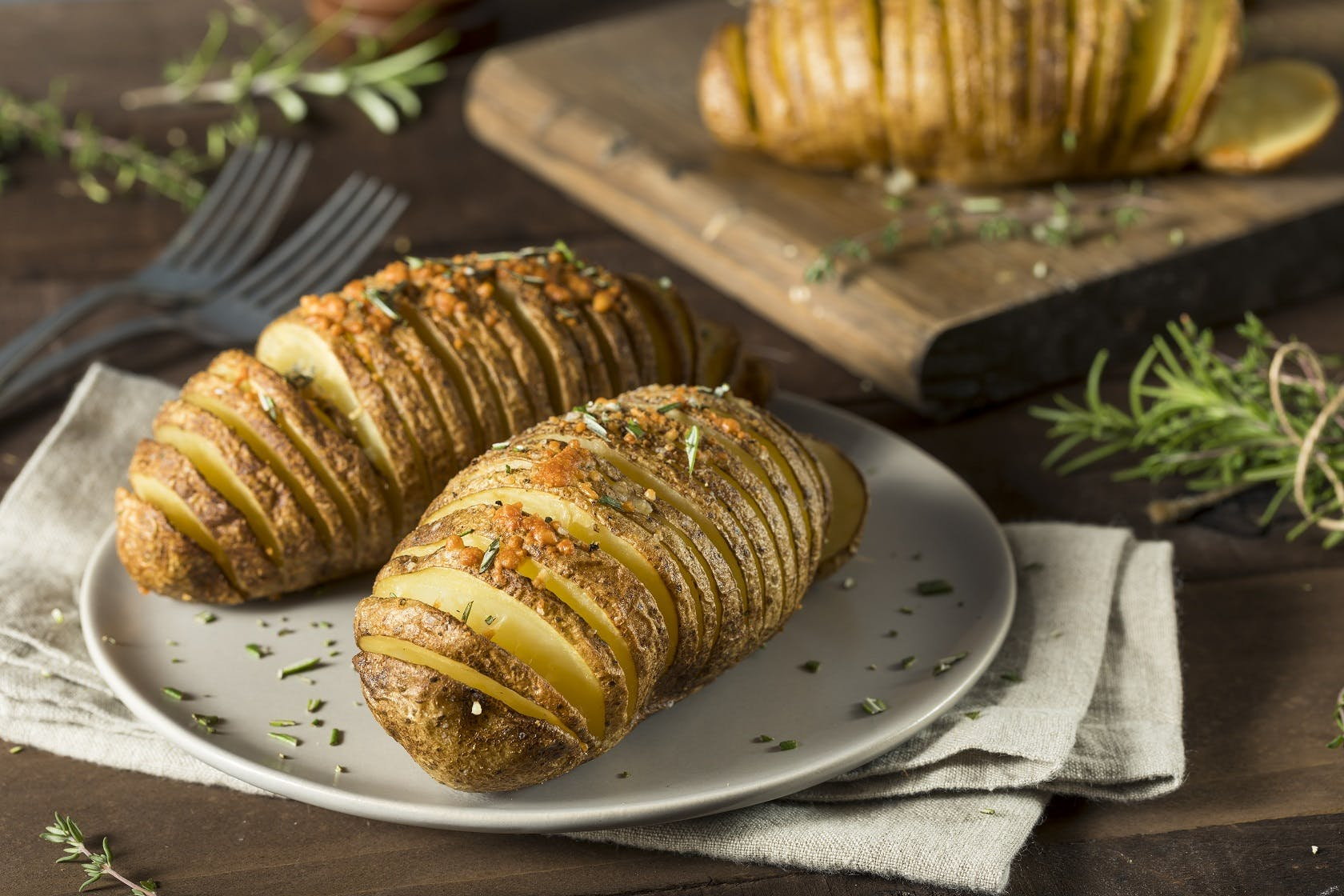 Rosemary Garlic Hasselback Potatoes
