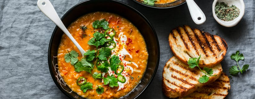 Lentil, coconut curry soup