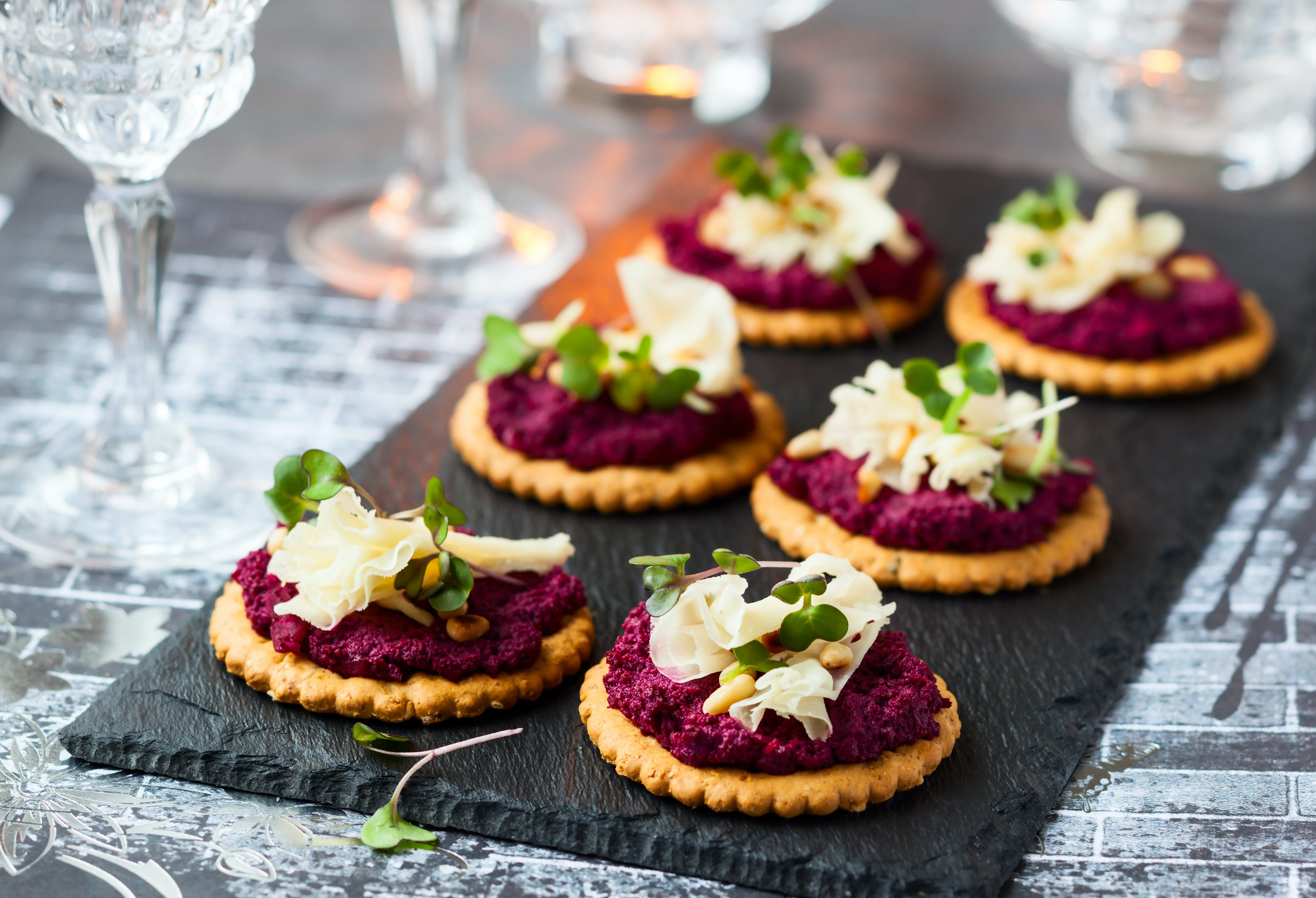 Festive Parmesan Beetroot Pesto Crackers