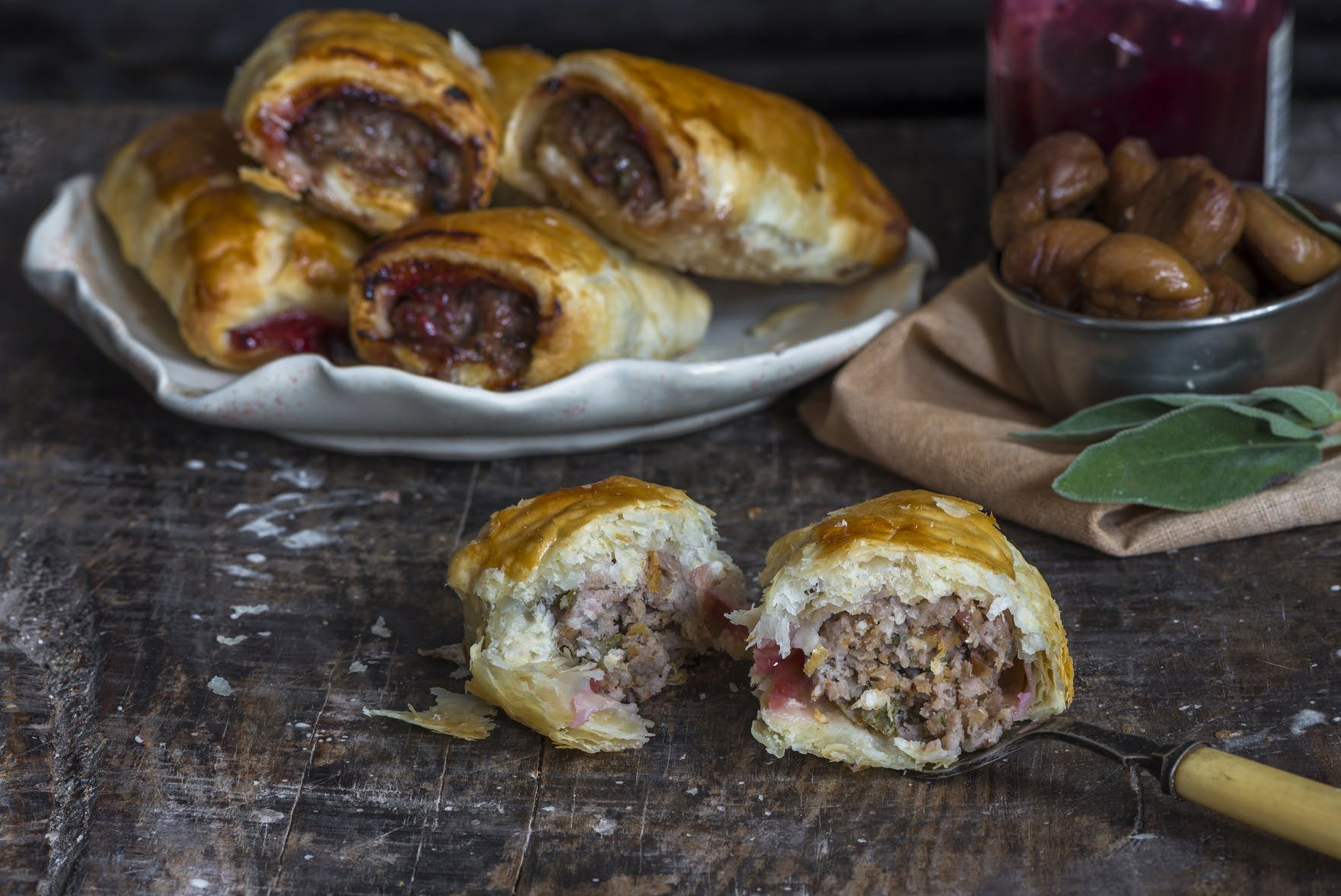 Sausage Rolls with Chestnuts, Cranberry and Sage