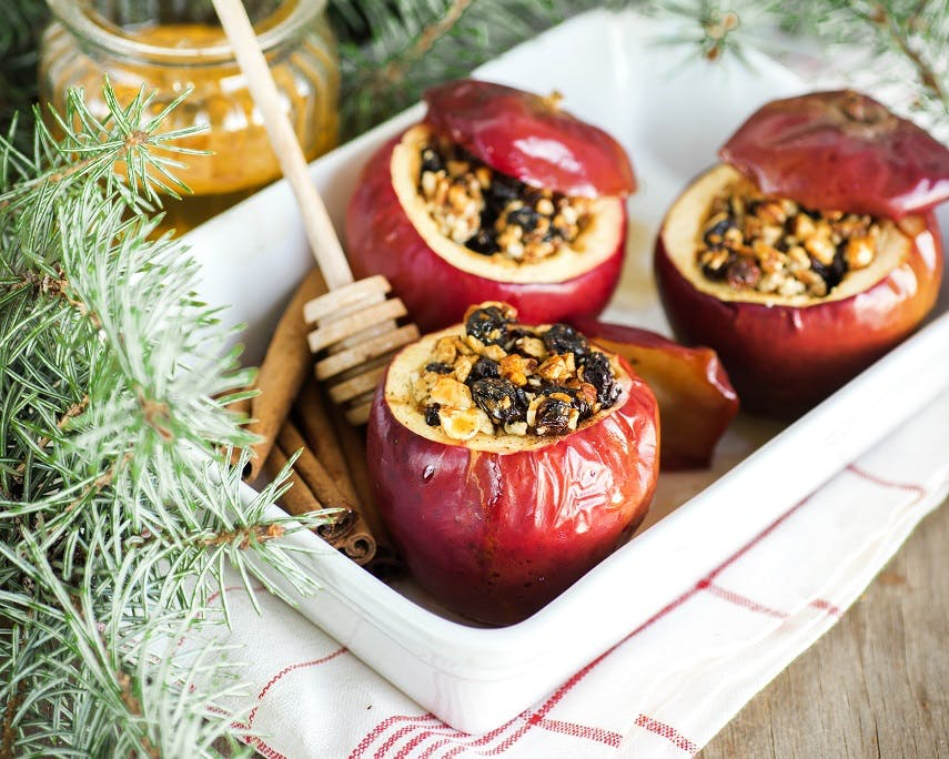 Fruit and Nut Baked Apples with Cinnamon and Honey