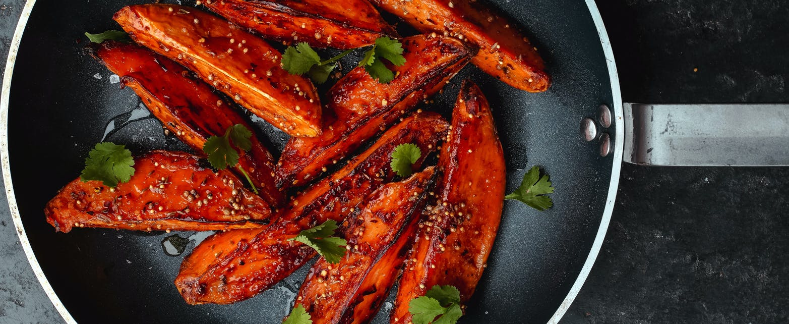 Sweet Potato Wedges Glazed with Miso