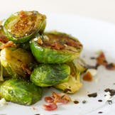 Sprouts with Crunchy Bacon, Chestnuts and Garlic Crumbs
