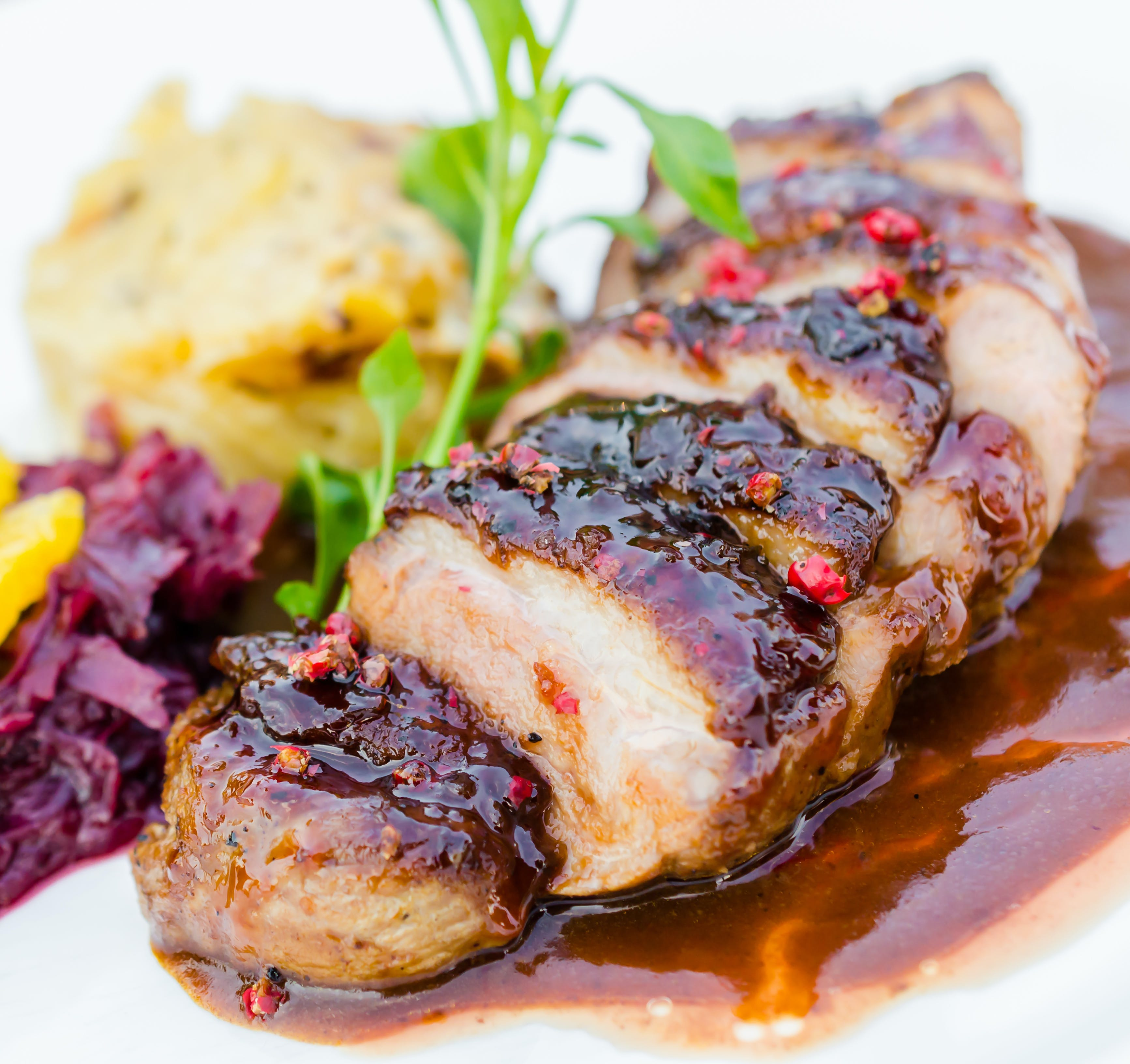 Duck breast with potato and apple rosti