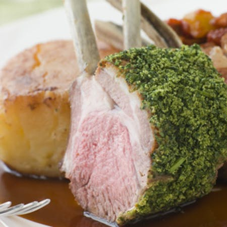 Herb-Crusted Rack of Lamb with a Red Wine Reduction