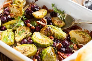 Roasted Maple and Balsamic Brussels Sprouts with Red Grapes and Walnuts