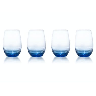 Mikasa Swirl Set Of 4 16.5Oz Stemless Wine Glasses Cobalt