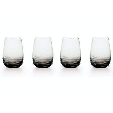 Mikasa Swirl Set Of 4 16.5Oz Stemless Wine Glasses Smoke