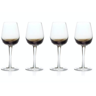 Mikasa Swirl Set Of 4 10.5Oz White Wine Glasses Smoke