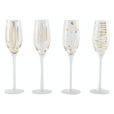 Mikasa Cheers Metallic Gold Set Of 4 7Oz Flute Glasses