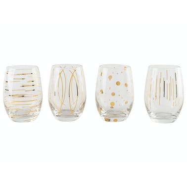 Mikasa Cheers Metallic Gold Set Of 4 Stemless 470 ml Wine Glasses