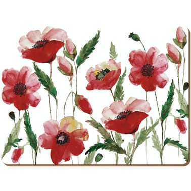 Creative Tops Watercolour Poppy Pack Of 4 Large Premium Placemats