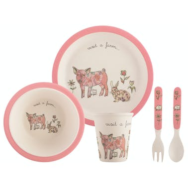 Creative Tops Visit A Farm Pig 5 Piece Kids Pressed Bamboo Dinner Set