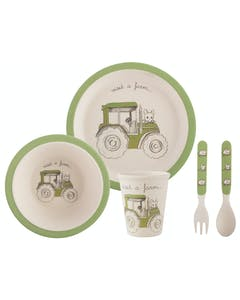 Photo of Creative Tops Visit A Farm Tractor 5 Piece Kids Pressed Bamboo Dinner Set