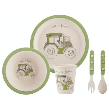 Creative Tops Visit A Farm Tractor 5 Piece Kids Pressed Bamboo Dinner Set