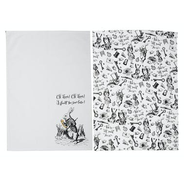 Victoria And Albert Alice In Wonderland Set of 2 Tea Towels