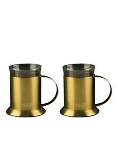 Photo of La Cafetiere Edited Set Of 2 Glass Cups Brushed Gold