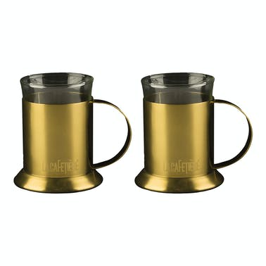 La Cafetiere Edited Set Of 2 Glass Cups Brushed Gold