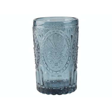 Katie Alice Festival Folk Glass Tumbler Navy