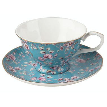 Katie Alice Ditsy Floral Cup And Saucer Teal