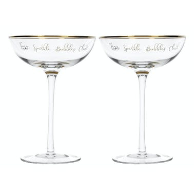 Creative Tops Ava & I Set Of 2 Champagne Saucers - Fizz Sparkle Pop Clink