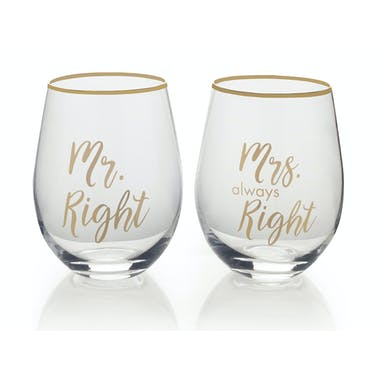 Mikasa Cheers Set Of 2 Stemless Mr Right And Mrs Always Right Wine Glasses