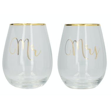 Creative Tops Ava & I Mr And Mrs Set Of 2 Glasses