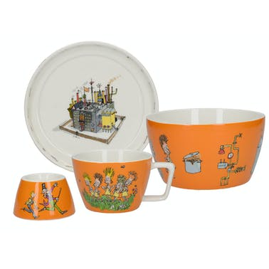 Roald Dahl Charlie And The Chocolate Factory Set 4 Piece Stacking Breakfast Set