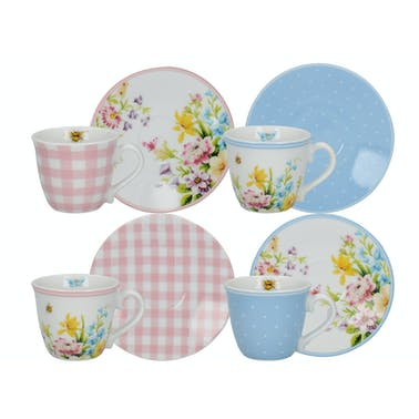 Katie Alice English Garden Set Of 4 Espresso Cups And Saucers