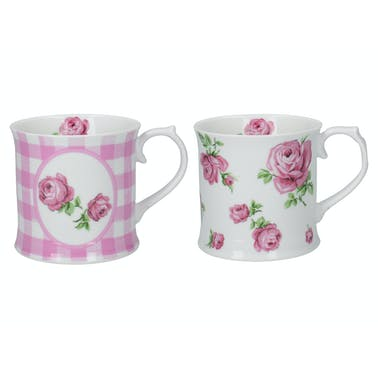 Katie Alice Vintage Roses Set Of 2 Tankard Mugs Pink