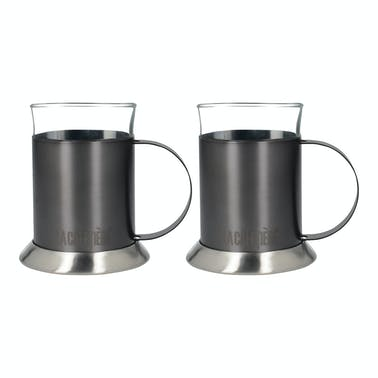 La Cafetiere Edited Set Of 2 Glass Cups Gun Metal Grey